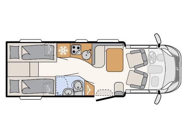 Dethleffs Espri T T 6810 - Plano - Distribución