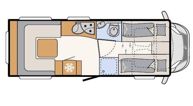 Dethleffs Espri A Comfort  A 6820-2 - Plano - Distribución