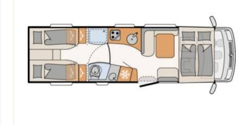 Dethleffs Globertrotter XL I (Fiat) XL I 7850-2 EB - Plano - Distribución