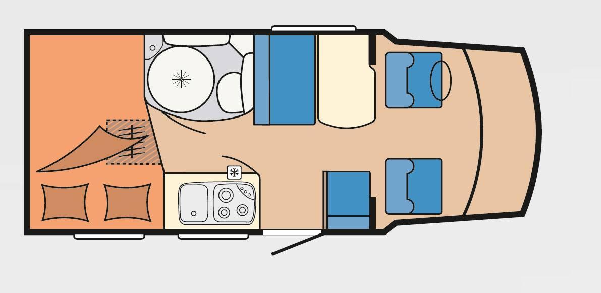 Hobby Siesta Van V 60 GF - Plano - Distribución