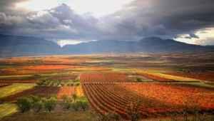 Paisajes de otoño en La Rioja desde un camping