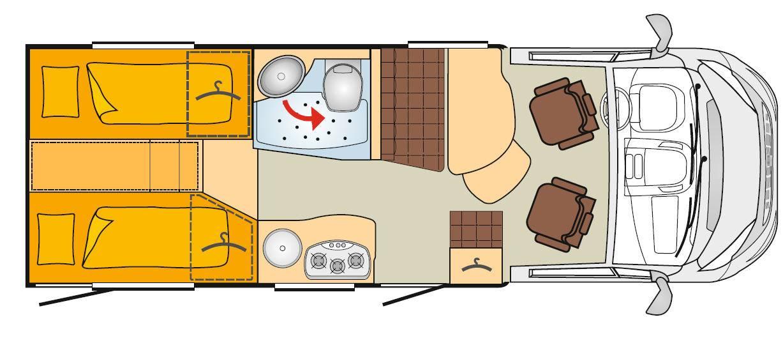 Bürstner Travel Van T 620 G - Plano - Distribución