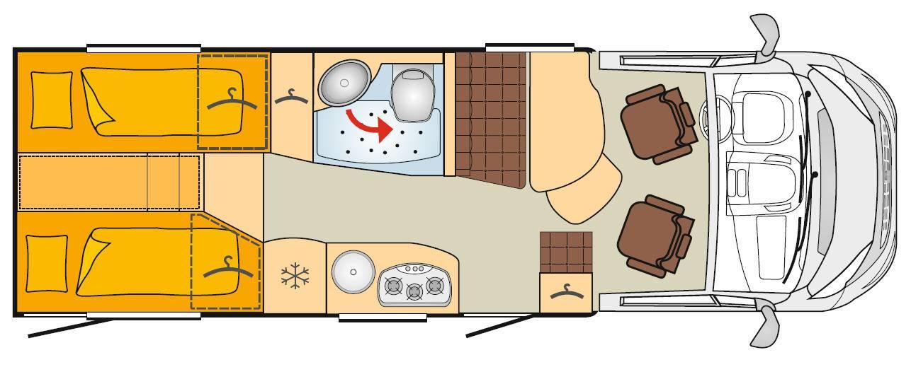 Bürstner Travel Van T 690 G - Plano - Distribución