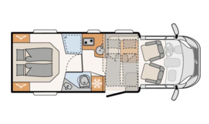 Dethleffs JUST 90 T 7052 DBM - Plano - Distribución