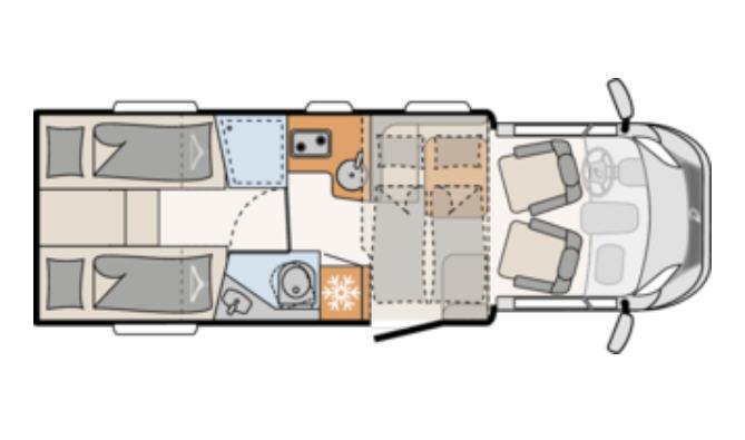 Dethleffs JUST 90 T 7052 EB - Plano - Distribución