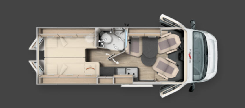 Malibu First Class 640 LE RB two rooms - Plano - Distribución