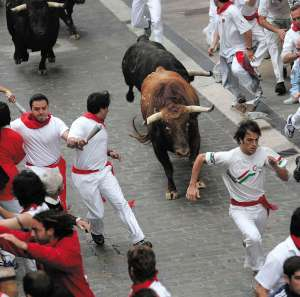 Cada mañana, los mozos que corren el encierro ponen a prueba sus nervios y su condición física perseguidos por las astas de una manada de seis toros bravos. ©PO. Montero.