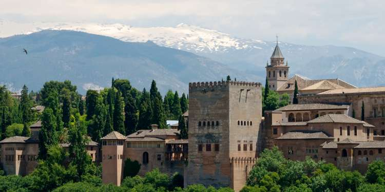 Alhambra Palace & the Sierra Nevada Mtns.